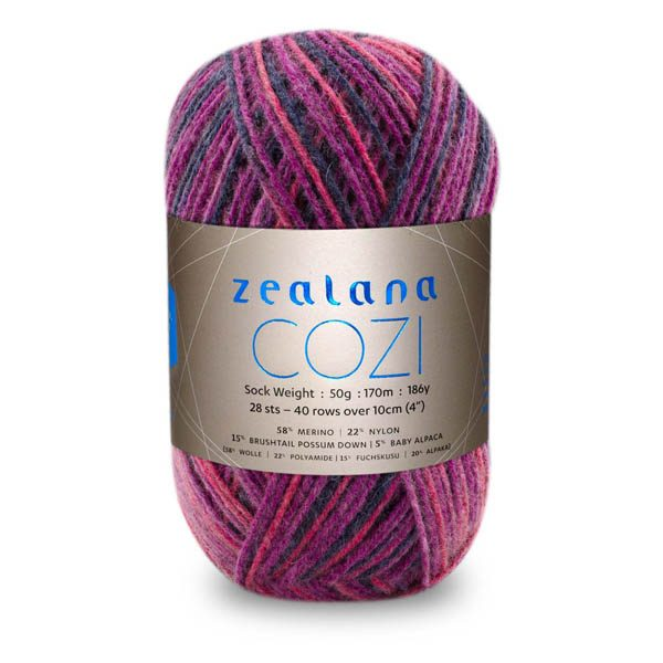 Zealana Cozi Sock Yarn CP-07-BERRY-BRAMBLE