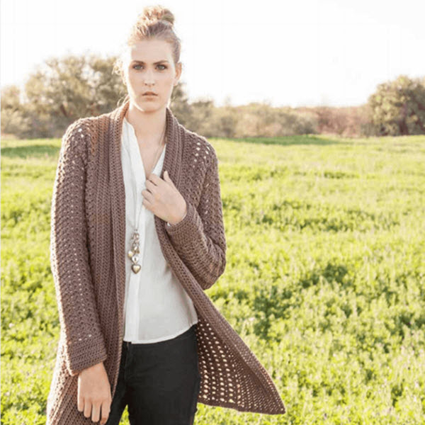 LADIES CARDIGAN Uberyarn Custom Crochet Long Cardigan Pattern