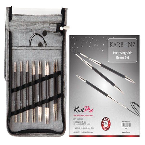 KNITPRO Karbonz Interchangeable Circular Needles Deluxe Set