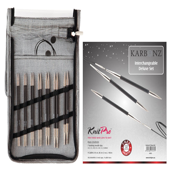 KNITPRO Karbonz Interchangeable Circular Needles Deluxe Set